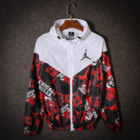 White Jordan 23 Chicago Bulls Print Loose Windbreaker Coat
