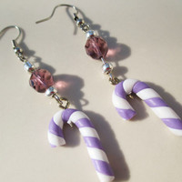 Handmade Christmas Candy Cane Earrings in Purple Holiday xmas