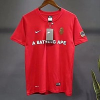 Nike X BAPE Popular Women Men Loose Print Short Sleeve Round Collar T-Shirt Top Red I12977-1