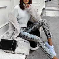Snake Print Straight Trousers