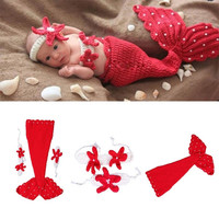 2014 New Newborn Baby Crochet Knit Costume Photography Prop Outfit Red Mermaid Infant Girl Boy Soft = 1958220292