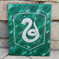 Slytherin Canvas Wall Art, Original Hand Painted Slytherin House Crest Artwork, Harry Potter Wall Art
