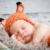 Newborn Fox Outfit Carrot White Baby Fox Photo Prop