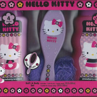 Hello Kitty Strawberry Scented Bath & Body Set with Brush