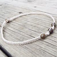 Natural Color Beaded Hemp Necklace Choker with Natural Stones