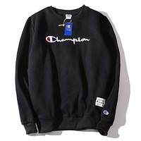Champion new wild casual embroidery round neck wild loose long-sleeved sweater Black
