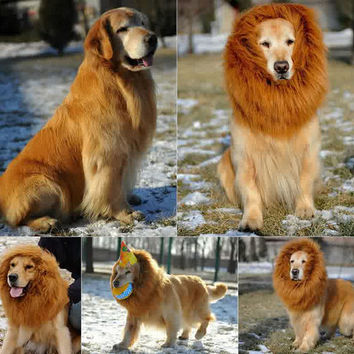 Pet Costume Lion Mane Wig for Dog Halloween Clothes Festival Fancy Dress up