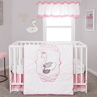 Baby Bedding Sets  - Swans 3 Piece Crib Bedding Sets Set