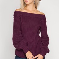 Plum Balloon Sleeve Off Shoulder Sweater (final sale)