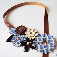Blue Leather Bib Necklace, Sweet Blue Chocolate Flowers, Leather Flowers, Leather Jewelry, Nature Jewelry, Statement Necklace, Asymmetrical