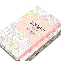 """Color Therapy' Anti Stress Adult Coloring Stationery Hardcover Notebook Journal Bookbound Lined Note Pad, 192p, 5.04""""x 7.2""""x0.59"""" (Pink)"""