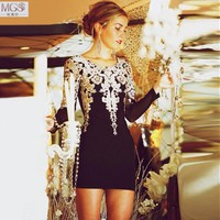 New Design 2016 MGS Black Beauty Short Mini Straight Scoop Embroidery Lace Appliqued Cocktail Dresses Sexy Party Homecoming Gown