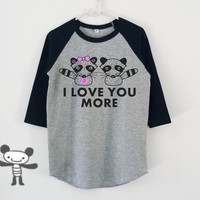 Raccoon shirt I love you more quote raglan shirt for kids toddlers boys girls tops Baby clothing