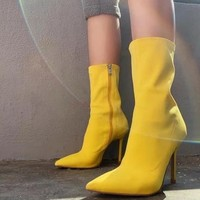 Women Stretch Fabric Ankle High Heel Fashion Boots
