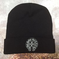 Chrome Hearts New Trends Men and Women Cross Embroidered Knit Cap Black