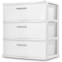 Sterilite 3 Drawers Wide Weave Tower Plastic Storage Organization- White (White) By ..Sterilite.. Ship from US - Walmart.com