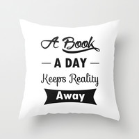 A Book A Day Throw Pillow by Pati Designs