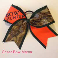 BOW HUNTER Blaze Orange and Camouflage Cheer Bow