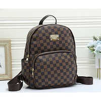 Louis Vuitton LV Popular Woman Men Leather Travel Bookbag Shoulder Bag Backpack Coffee Tartan