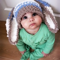 6 to 12m Baby Hat Photo Prop, Blue Stripe Bunny Hat, Baby Beanie, Crochet Boy Baby Hat, Easter Bunny Beanie, Toddler Boy Photo Prop