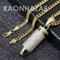 316L Stainless Blinged Out Bullet Pendant w/ 5mm Miami Cuban Chain