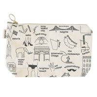 Maptote | New York City Zipped Pouches Natural