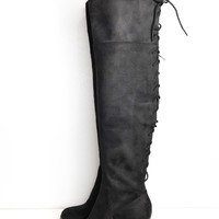 Aspen Lace Back OTK Boot - Black