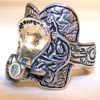 1 DELUXE HORSE RIDING SADDLE NEW SILVER BIKER RING BR111R mens  fashion jewelry