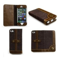 Amazon.com: Bear Motion (TM) Luxury Denim + 100% Genuine Buffalo Hide Leather Wallet Folio Case for iPhone 5 - Brown: Cell Phones & Accessories