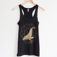 Shimmery Gold Whale Flowy Racerback Tank Top - Loose Flowing Racer Back Style