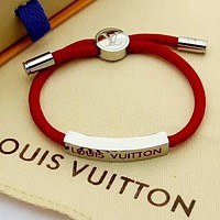 LV Louis Vuitton Newest Women Men Personality Drawstring Bracelet Hand Catenary Red