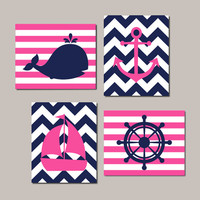 Nautical Nursery Art Nautical Nursery Decor Girl Nursery Art Set of 4 Prints Whale Anchor Sailboat Kids Nautical Bathroom Nautical Bedroom