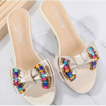 New sexy crystal transparent rhinestone slope heel slippers shoes