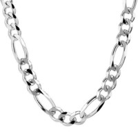 Men's Sterling Silver Italian 9.70 mm Solid Figaro Link Chain Necklace, 24""