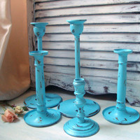 Beach Cottage Aqua Painted Vintage Candle Stick Holders, Shabby Chic Turquoise Painted Brass and Wood Candlestick Holders, Up Cycled