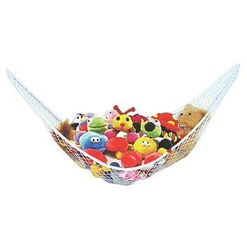 Stuffed Animal Toy Hammock - Best for keeping rooms clean, organized and clutter-free - Comes with BONUS FREE E-Book, Toy Organizer Storage Net is Durable and Easy to Install One Pack
