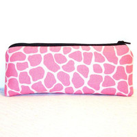 """Pink Giraffe Print Cotton Padded Pipe Pouch 7.5"""" / Glass Pipe Case / Spoon Cozy / Piece Protector / Pipe Bag / LARGE"""