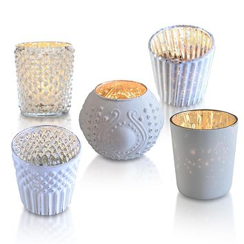 Vintage Elegance Pearl White Mercury Glass Tea Light Votive Candle Holders (Set of 5, Assorted Designs and Sizes)