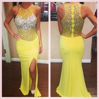 Sleeveless Yellow Slit Satin Prom Dresses
