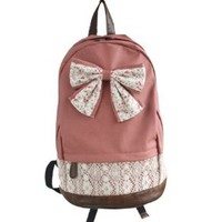 Topluck New Top Trendy Cute Korean Lace Backpack College Style Leisure Backpack Gilr's Lovely Bow Vintage Floral Print School Bag Retro Sweet Fashionable Outdoor Backpack for Teens Students Women Ladies Girls (Red)