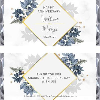 Foliage Anniversary Candy Bar Wrappers