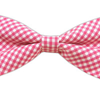 Petite Gingham - Hot Pink (Cotton Bow Ties) from TheTieBar.com - Wear Your Good Tie Everyday