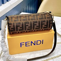 Onewel Fendi Medieval Series Mini Ins Pen Holder Bag Mini Retro Round Cone Small Crossbody Bag Coffee