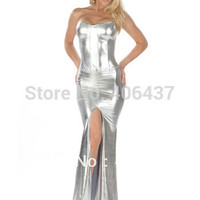 2015 Hot Women Sexy Silver Strapless Maxi Dress Metallic Faux Leather Lady Open Leg Fashion Clubwear Free Shipping