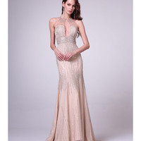 Champagne Sexy Embellished Cut Out Gown  2015 Prom Dresses