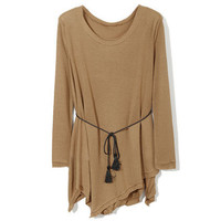 Padded Shoulder Long Style Coffe T-shirt