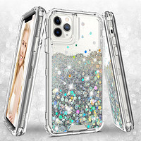 Apple iPhone 11 Pro Case,Hard Clear Glitter Sparkle Flowing Liquid Heavy Duty Shockproof Three Layer Protective Bling Girls Women Cases for Apple iPhone 11 Pro - Clear