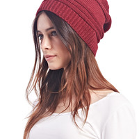 Slouchy Ribbed Knit Beanie | Wet Seal