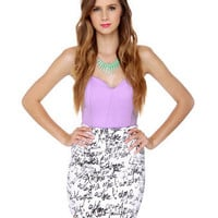 Cute Lavender Top - Strapless Top - Bustier Top - $31.00