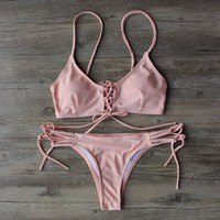 Baby Pink Lace-Up Brazilian Bikini